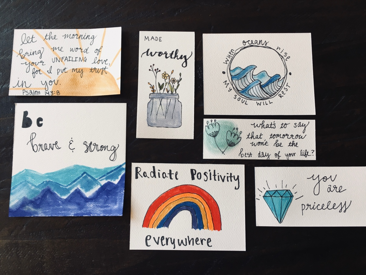 DIY Inspirational watercolor cards. Quarantine crafts with Jasmin, #3 *Smiles*